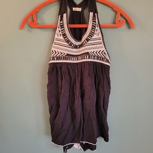Hollister embroidered flowy tank